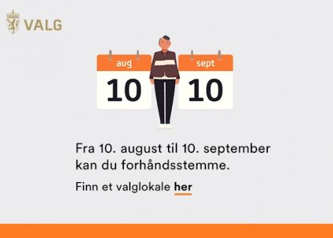 Grafikk som forklarer at du fra 10 august til 10 september kan forhåndsstemme